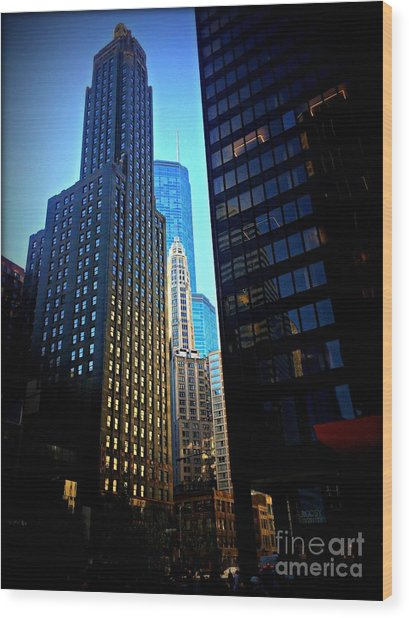 Golden Hour Reflections - City Of Chicago Wood Print