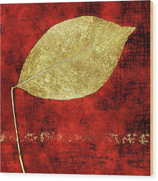 Golden Leaf On Bright Red Paper Square Wood Print