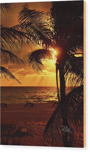 Golden Palm Sunrise Wood Print