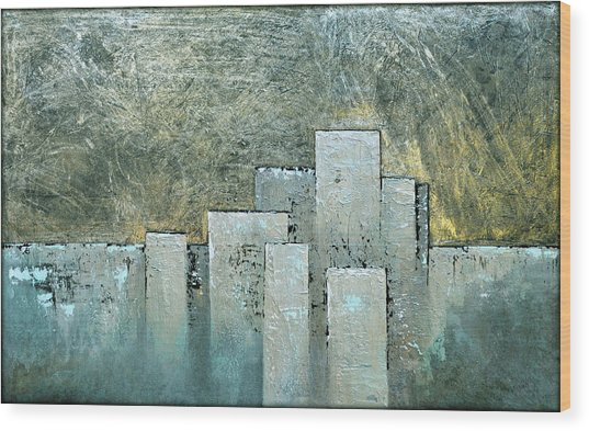 Golden Skyline II Wood Print