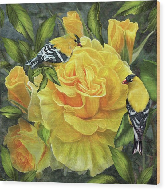 Wood Print featuring the mixed media Goldfinches On Gold Roses by Carol Cavalaris