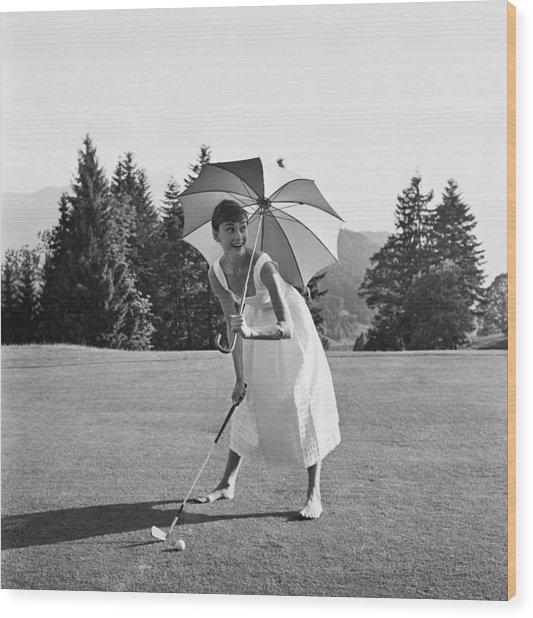Golfing Hepburn Wood Print by Hulton Archive