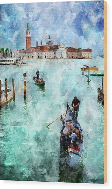 Gondola Rides And San Giorgio Di Maggiore In Venice Wood Print