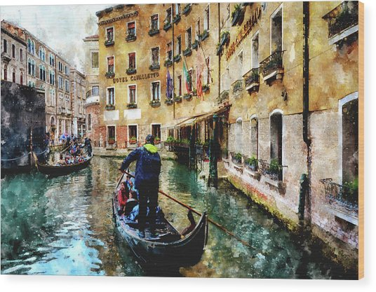 Gondola Traffic Near Piazza San Marco In Venice, Italy - Watercolor Effect Wood Print