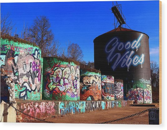 Good Vibes Asheville North Carolina Wood Print