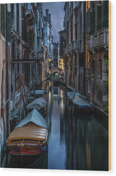 Goodnight Venice Wood Print