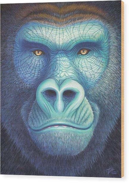 Gorilla Face Wood Print