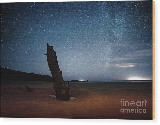Gower Helvetia At Night  Wood Print