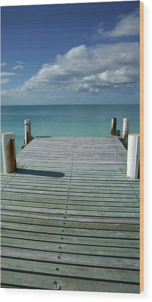 Grace Bay Wooden Pier On The Island Of Wood Print by Greg Newington