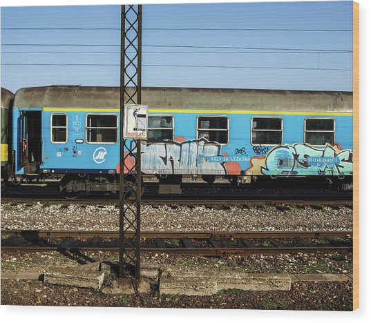 Wood Print featuring the photograph Graffitied Train by Edward Lee