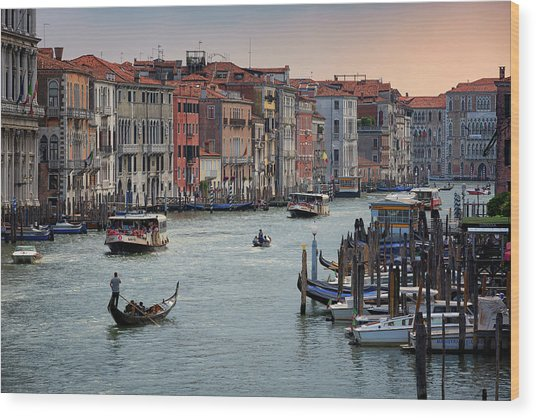 Wood Print featuring the photograph Grand Canal Gondolier Venice Italy Sunset by Nathan Bush