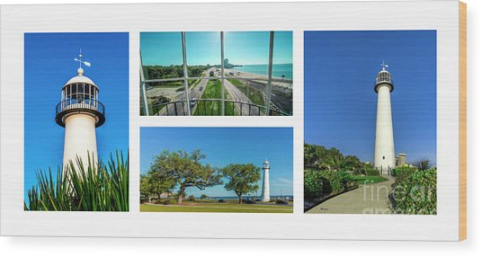 Grand Old Lighthouse Biloxi Ms Collage A1a Wood Print