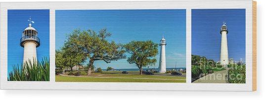 Grand Old Lighthouse Biloxi Ms Collage A1e Wood Print