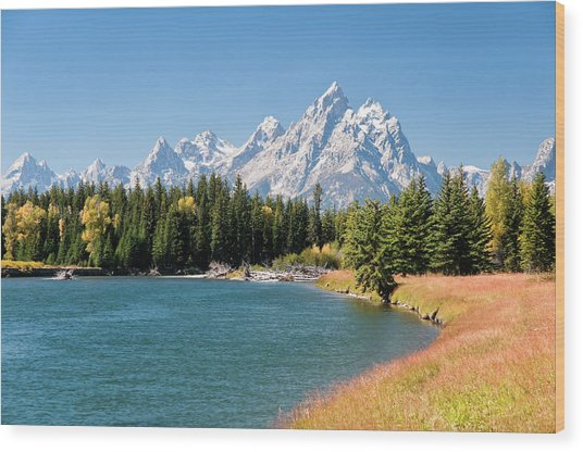 Grand Tetons Mountians And The Snake Wood Print