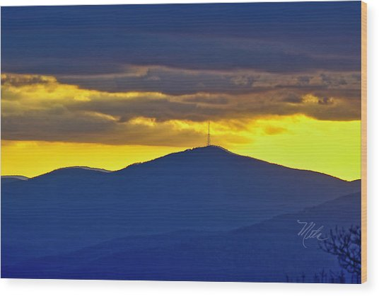 Grandmother Mountain Sunset Wood Print