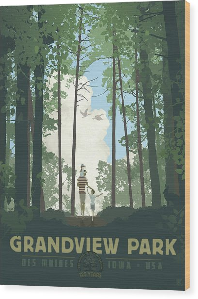 Wood Print featuring the digital art Grandview Park by Clint Hansen