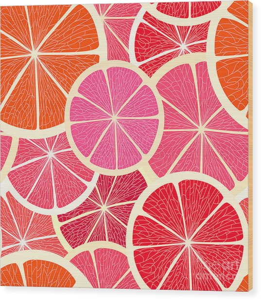 Grapefruit Seamless Background Wood Print