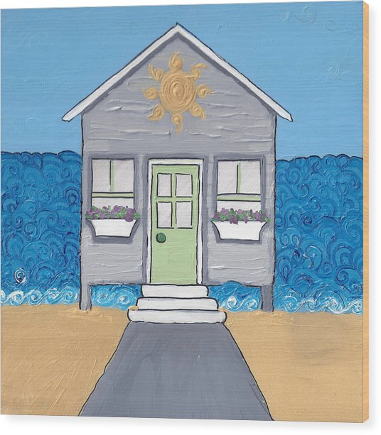 Gray Cottage On The Beach Wood Print