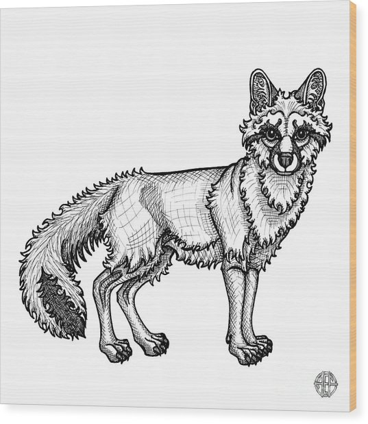 Gray Fox Wood Print