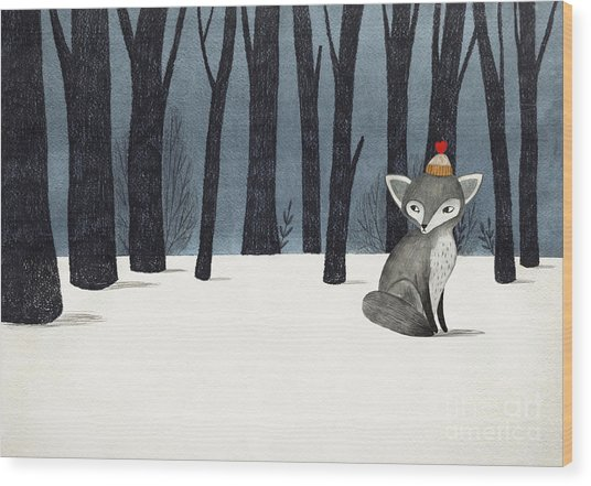 Gray Wolf Fox In A Winter Forest - Wood Print