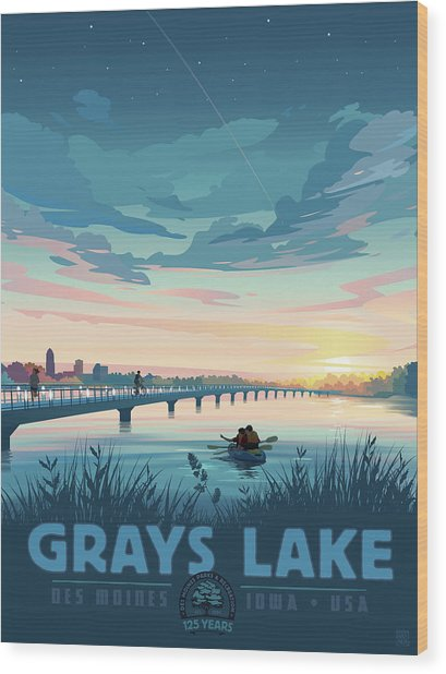 Wood Print featuring the drawing Grays Lake by Clint Hansen