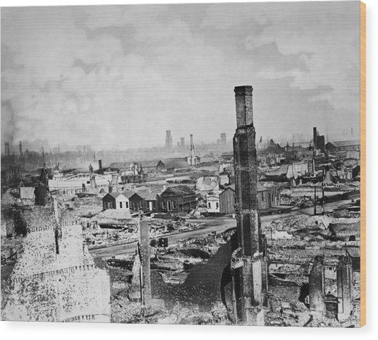 Great Chicago Fire Wood Print by Archive Photos