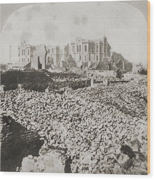 Great Chicago Fire Wood Print by Otto Herschan Collection