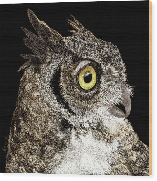 Great-horned Owl Wood Print