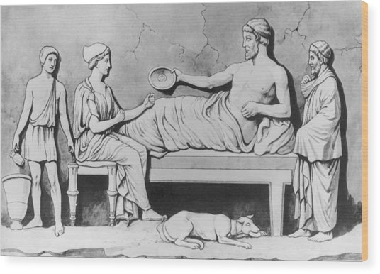 Greek Family Meal Wood Print by Hulton Archive