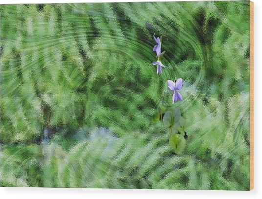Wood Print featuring the digital art Green Abstract With Violets by Roy Erickson