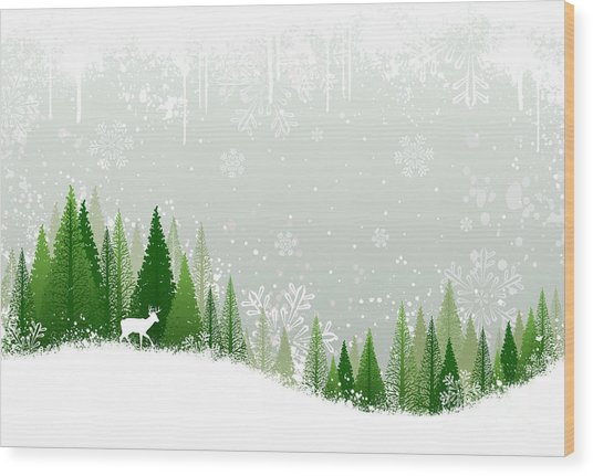 Green And White Winter Forest Grunge Wood Print