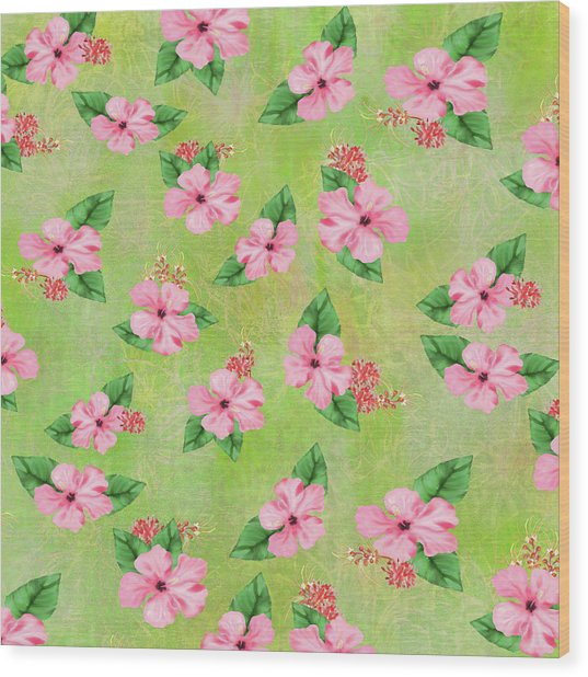 Green Batik Tropical Multi-foral Print Wood Print