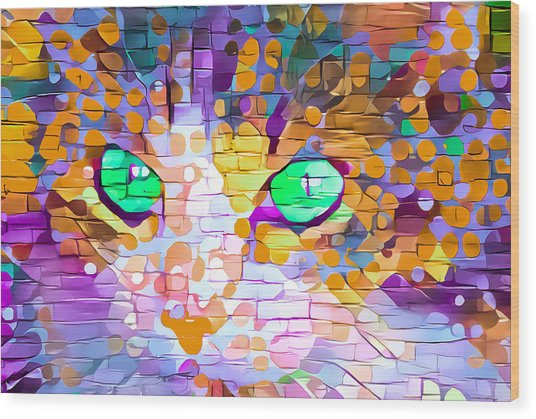 Green Eyed Cat Abstract Wood Print
