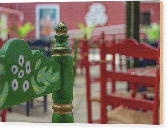 Green Fair Chair Wood Print