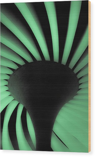 Green Fan Ceiling Wood Print