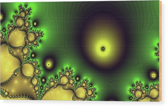 Green Glowing Bliss Abstract Wood Print
