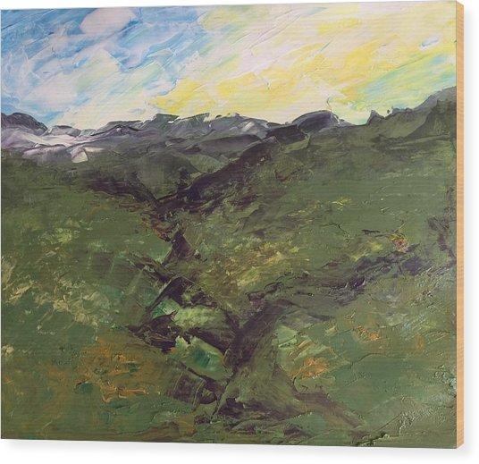 Green Hills Wood Print