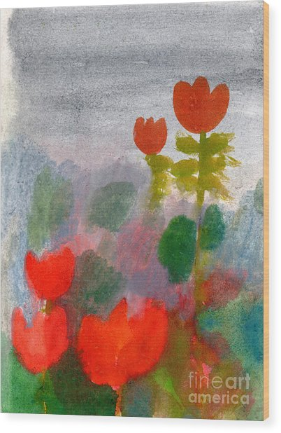 Green Life. Nature. Flowers. Red Wood Print