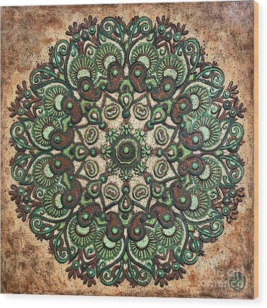 Green Mandala Wood Print
