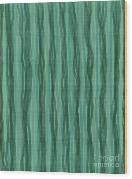 Green Stripes Wood Print