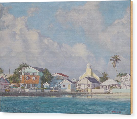 Green Turtle Cay Water Front Wood Print
