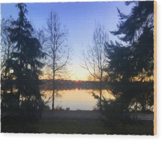 Greenlake Dawn Evergreens Wood Print