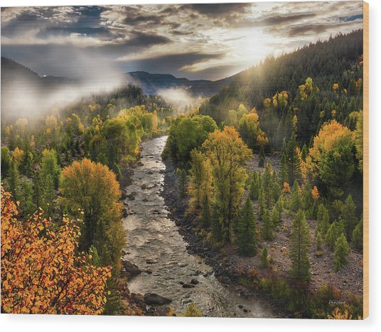 Wood Print featuring the photograph Gros Ventre River Light by Leland D Howard