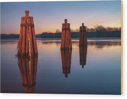 Group Of Three Docking Piles On Connecticut River Wood Print