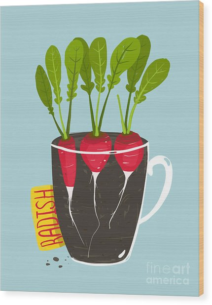 Growing Radish With Green Leafy Top In Wood Print