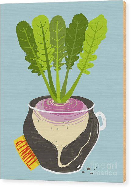 Growing Turnip With Green Leafy Top In Wood Print