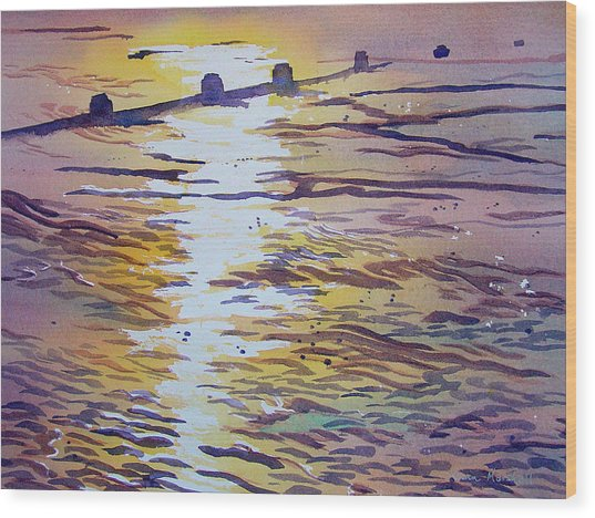 Groynes And Glare Wood Print