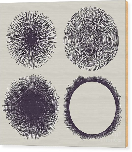 Grunge Halftone Drawing Textures Set Wood Print