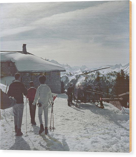 Gstaad Wood Print by Slim Aarons