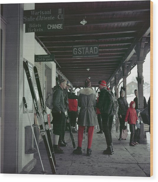 Gstaad Station Wood Print by Slim Aarons